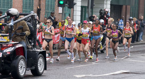 Elite women athletes at London marathon 2010 Royalty Free Stock Image