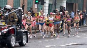 Elite women athletes at London marathon 2010 Royalty Free Stock Image