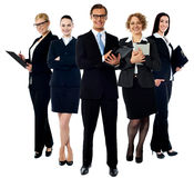 Elite young smiling business team stock photo