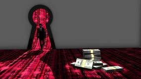 Elitehakker die een ruimte ingaan door een sleutelgat om geld te stelen Stock Foto's