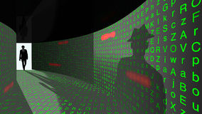 Eliten hacker skriver in lösenordhallet Arkivbilder