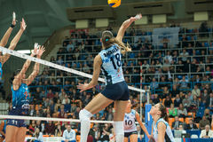 Elitsa Vasileva Dynamo (KZN) 18. MOSCOW, RUSSIA - DECEMBER 2: Unidentified players in action during the game on women's Rissian volleyball Championship game Stock Images