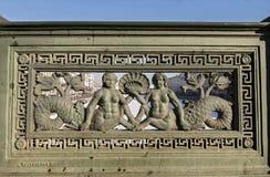 Żeliwa ogrodzenie na Anichkov moscie Obrazy Stock