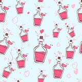 Elixir del amor Corazones inconsútiles del modelo la impresión, página web, diseño, materias textiles, cerámica, telas imprime la ilustración del vector