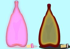 Elixir of life in unique and anthological bottles. Two very special glass bottles in their exclusive form an color with cork stoppers stock illustration