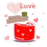 Elixir of love with the label and hearts. Valentine s day. elixir of love with the label and hearts. illustration on  background. FOR USE design, decoration Royalty Free Stock Photos