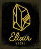 Elixir stone. Logo. Vector symbol of magic elixir. Textured sing on black background. Great for t-shirt print design or poster Stock Images