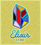Elixir stone. Logo. Vector symbol of magic elixir. Textured sing on yellow background. Great for t-shirt print design or poster Royalty Free Stock Image