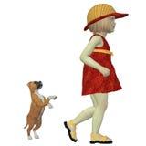 Eliza con el perrito del boxeador Fotografía de archivo