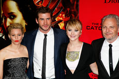 Elizabeth Banks, Liam Hemsworth, Jennifer Lawrence, Francis Lawrence Royalty Free Stock Photos