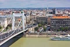 Elizabeth-Brückenstadtansicht Budapest Ungarn stockfotos