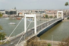 Elizabeth bridge. Panorama with Elizabeth bridge in Budapest (Hungary stock images