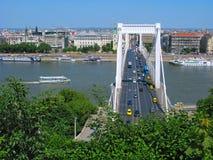 Elizabeth bro över Danube River, Budapest Arkivfoto