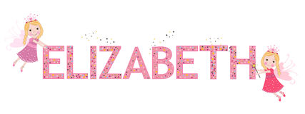 Elizabeth female name with cute fairy tale. Background Royalty Free Stock Image