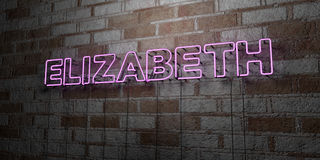 ELIZABETH - Glowing Neon Sign on stonework wall - 3D rendered royalty free stock illustration. Can be used for online banner ads and direct mailers Stock Photos