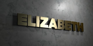 Elizabeth - Gold sign mounted on glossy marble wall  - 3D rendered royalty free stock illustration. This image can be used for an online website banner ad or a Royalty Free Stock Photo