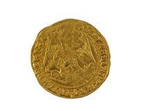 Elizabeth I Angel. Old gold Angel hammered coin of Elizabeth I minted 1590-1592 showing St Micahel slaying dragon stock image
