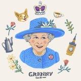 elizabeth ii drottning stock illustrationer
