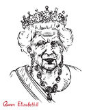 Elizabeth II Elizabeth Alexandra Mary, Queen of the United Kingdom, Canada, Australia, and New Zealand,  Head of the Commonwealt. Drawn by hand 2d illustration Stock Photo