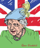 Elizabeth II Elizabeth Alexandra Mary, Queen of the United Kingdom, Canada, Australia, and New Zealand, Head of the Commonwealth. Drawn by hand 2d illustration Royalty Free Stock Photos