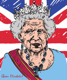 Elizabeth II (Elizabeth Alexandra Mary), Queen of the United Kingdom, Canada, Australia and New Zealand, Head of the. Drawn by hand 2d Stock Photos