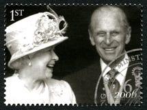 Elizabeth II och för prins Phillip UK portostämpel Royaltyfria Foton
