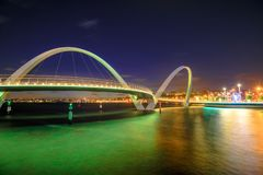 Elizabeth Quay Bridge night Stock Photos