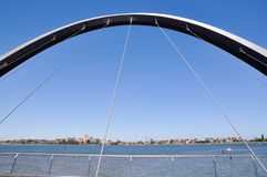 Elizabeth Quay Bridge: View Over South Perth. PERTH,WA,AUSTRALIA-FEBRUARY 13,2016: View of South Perth from the Elizabeth Quay suspension bridge overlooking the Stock Images