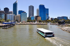 Elizabeth Quay: Ferry into the Inlet. PERTH,WA,AUSTRALIA-FEBRUARY 13,2016:Eizabeth Quay development with Transperth ferry boating into the artificial inlet of Stock Photography