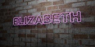 ELIZABETH - Sinal de néon de incandescência na parede da alvenaria - 3D rendeu a ilustração conservada em estoque livre dos direi ilustração do vetor
