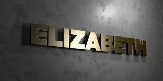 Elizabeth - sinal do ouro montado na parede de mármore lustrosa - 3D rendeu a ilustração conservada em estoque livre dos direitos ilustração stock