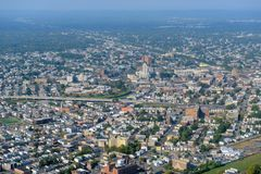 Elizabeth Aerial view, New Jersey, USA. Elizabeth skyline aerial view including Superior Court of New Jersey and First Presbyterian Church, City of Elizabeth Royalty Free Stock Images