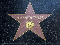 Elizabeth Taylor`s Star, Hollywood Walk of Fame - August 11th, 2017 - Hollywood Boulevard, Los Angeles, California, CA. USA Royalty Free Stock Images