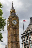 Elizabeth Tower, Big Ben and A Union Jack Flag Stock Photos