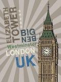 Elizabeth Tower - famous London Landmark. Abstract poster with Elizabeth Tower - famous London Landmark, vector illustration royalty free illustration