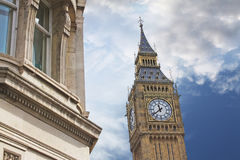 Elizabeth Tower, or Tower of Big Ben in London. The Elizabeth Tower. The tower holds the largest four-faced chiming clock in the world and is the third-tallest Royalty Free Stock Images