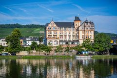 Elizabethan architecture along the Rhine River in Germany. From a river boat Stock Photography