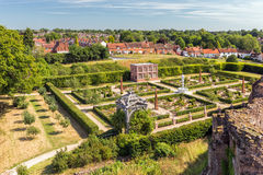 Elizabethan Garden, Kenilworth Castle, Warwickshire. The re-created Elizabethan Garden as seen from the Strong Tower Stock Images