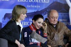 Elizaveta TUKTAMYSHEVA (RUS) and her coaches Alexey MISHIN, Tati Royalty Free Stock Image