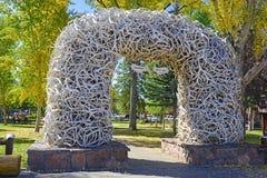 Elk Antler Arch, Jackson Hole Wyoming Stock Images