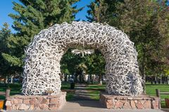 Elk Antler Arch in Jackson Wyoming stock photo