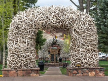 Elk antler arches. In Jackson town square, Wyoming Royalty Free Stock Photography