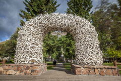 Elk Antler Arches in Jackson Town Square, Wyoming. USA Royalty Free Stock Photography