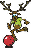 Elk bowling. Vector illustration of an elk bowling with a red bowling ball Stock Image