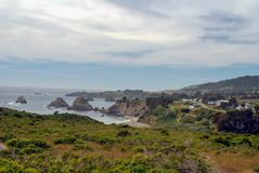 Elk California. The town of Elk, California on Highway 1 in Mendocino County sits on the cliffs above the Pacific Ocean stock photos