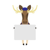 Elk with card banner Royalty Free Stock Photos