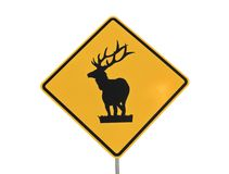 Elk Caution Sign Stock Photos