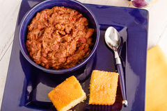 Elk Chili and Cornbread Stock Photography