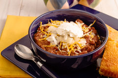 Elk Chili and Cornbread Stock Images
