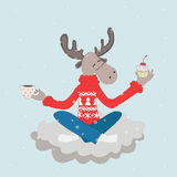 Elk on a cloud. Elk in yoga asana lotus posture on a cloud with cup of coffee and a cupcake royalty free illustration